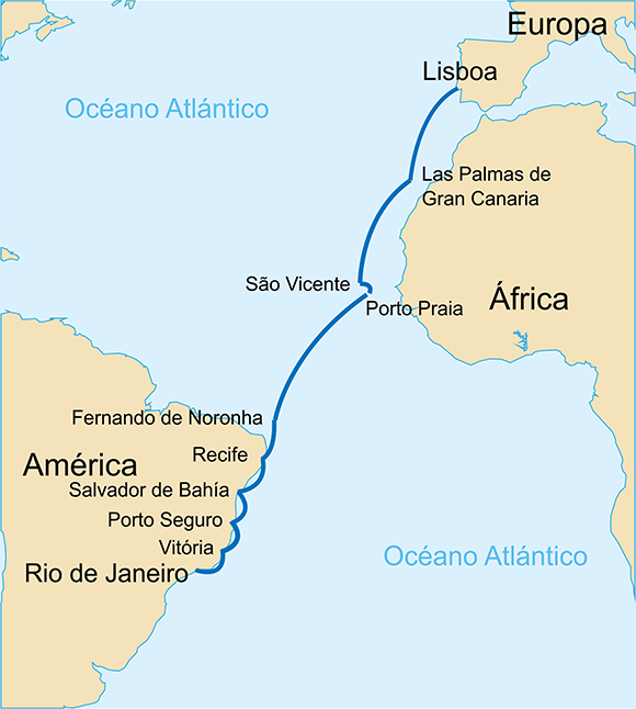 percurso 1ª travessia aérea Atlântico Sul