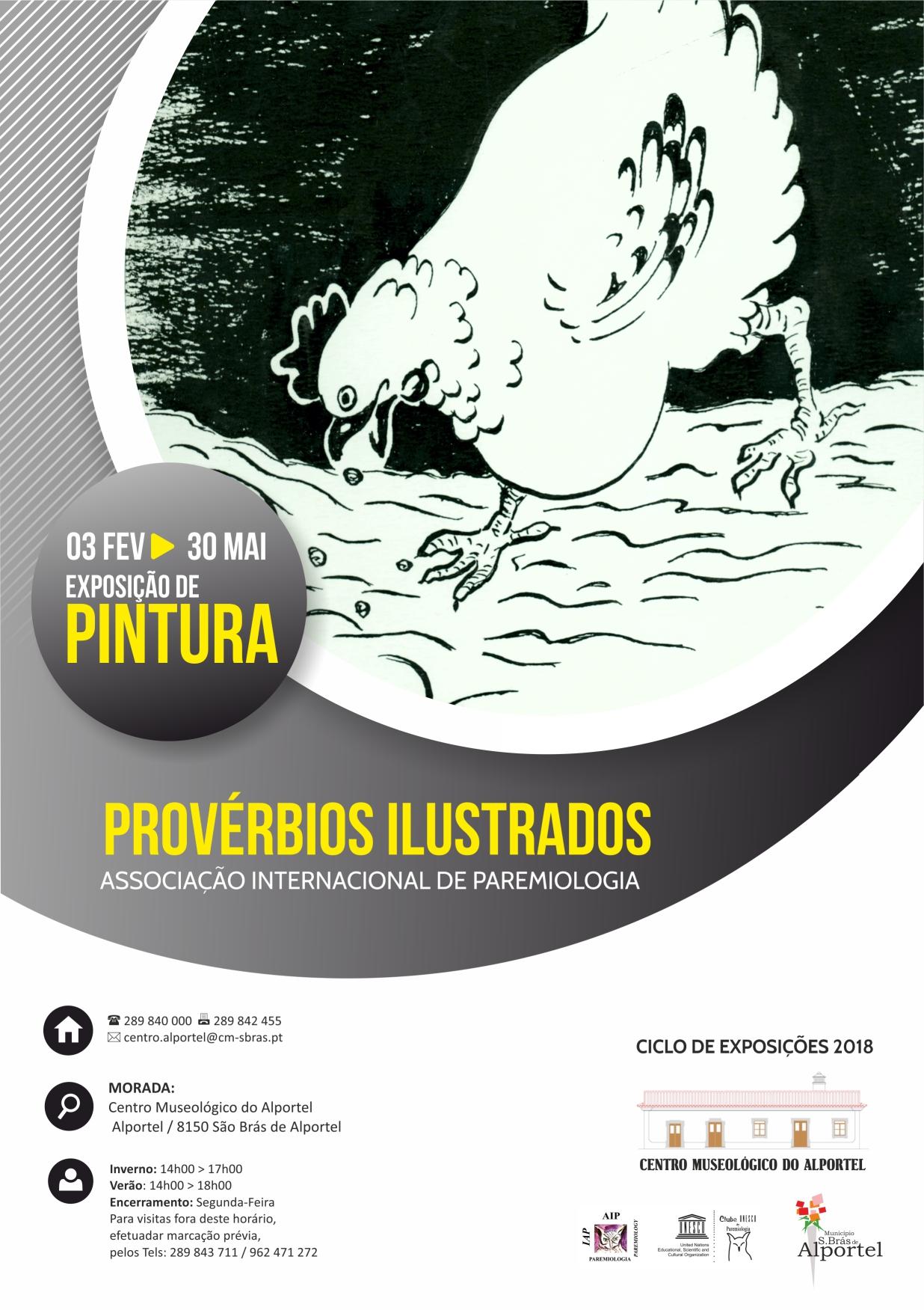 """cartaz da exposição """"Provérbios Ilustrados"""""""