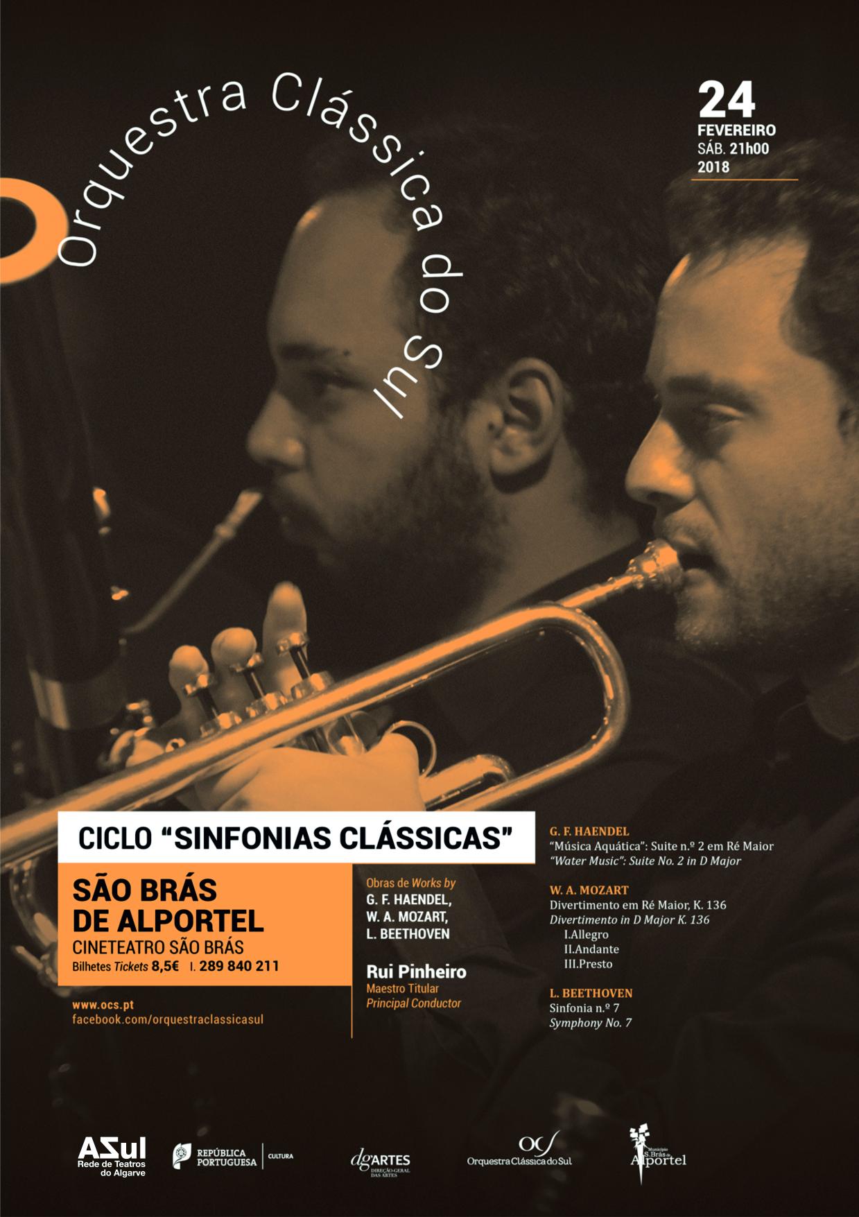 cartaz do ciclo de sinfonias clássicas de fevereiro de 2018