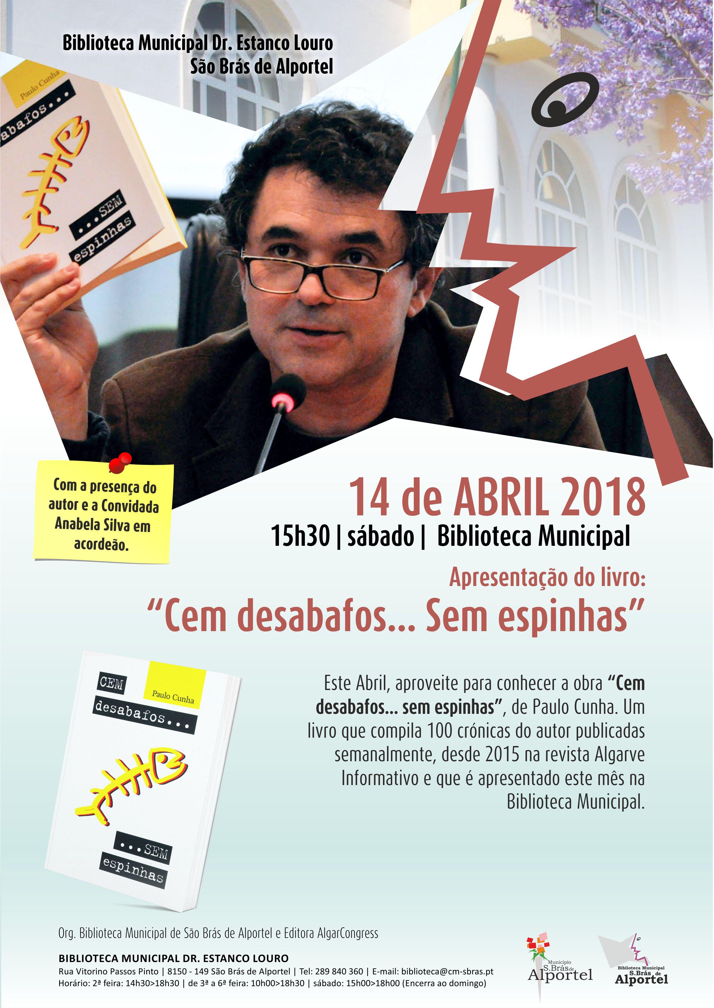 cartaz da apresentação do livro cem desabafos... sem espinhas