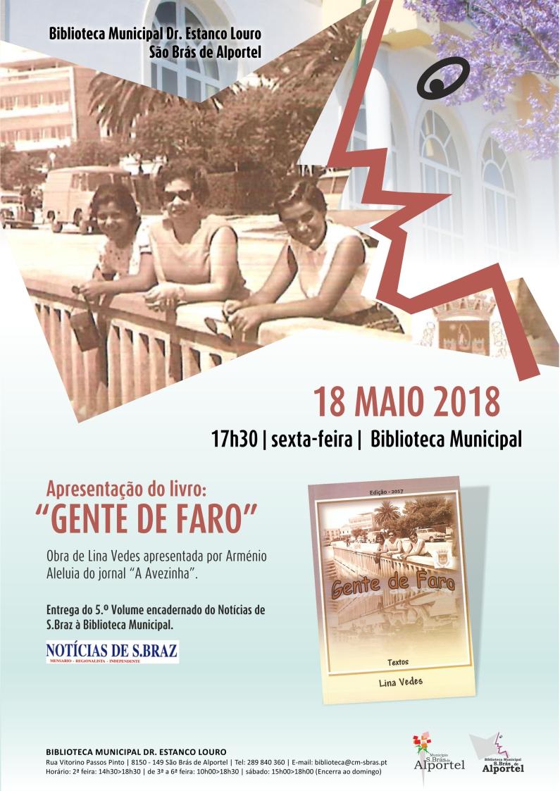"""cartaz da apresentação do livro """"Gente de Faro"""""""