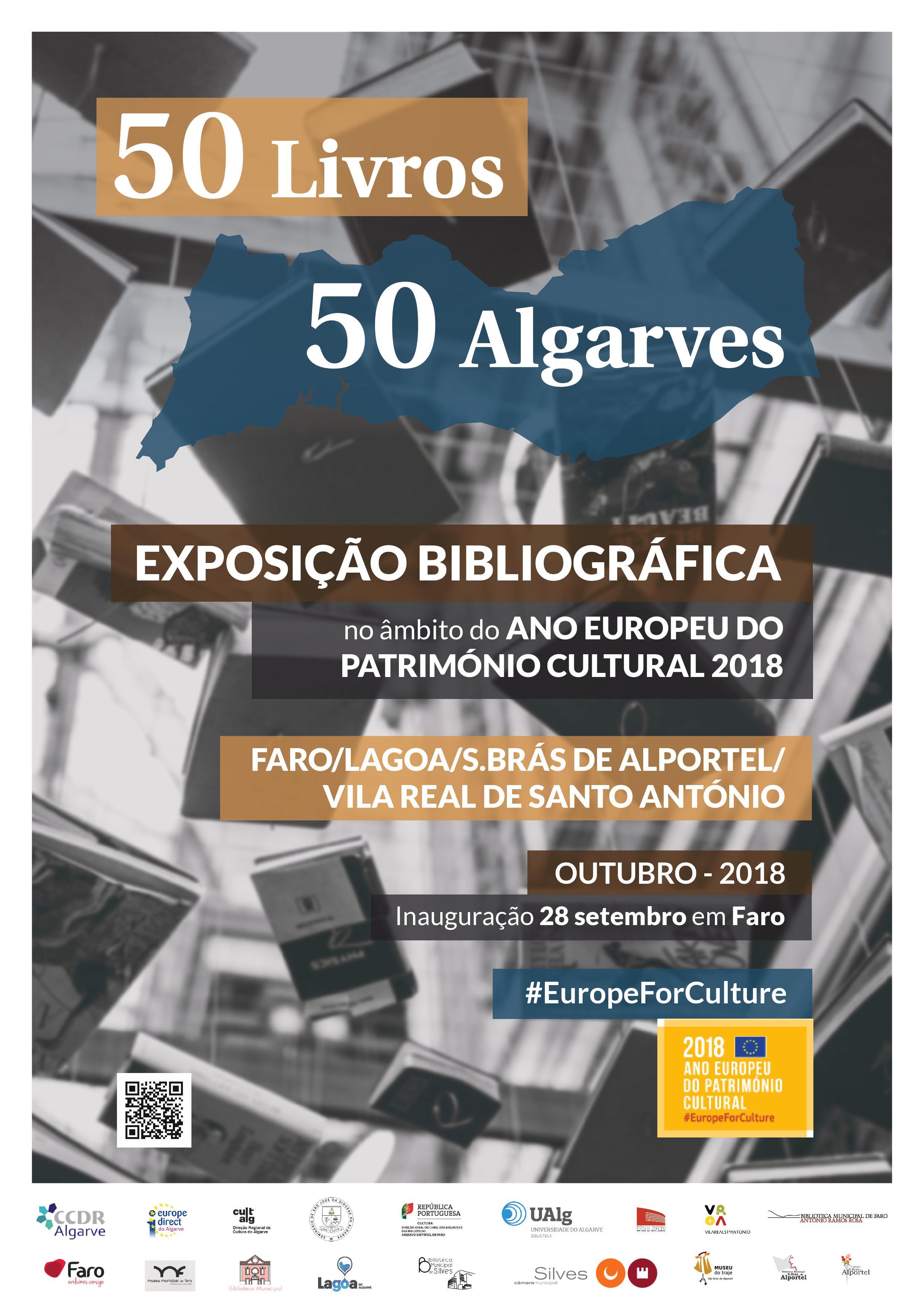 """cartaz da Exposição """"50 Livros 50 Algarves … pioneiros & contemporâneos"""""""