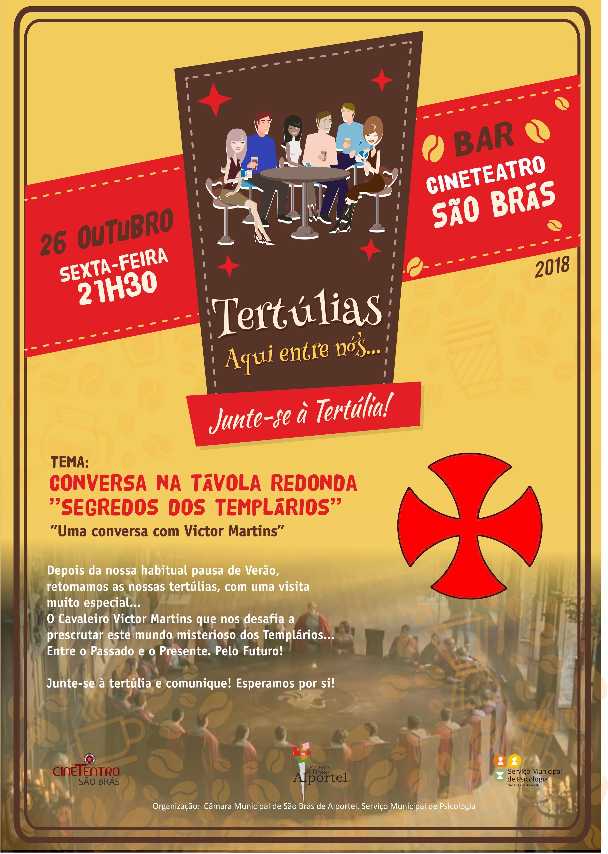 """cartaz do ciclo de tertúlias """"aqui entre nós"""" de outubro de 2018"""