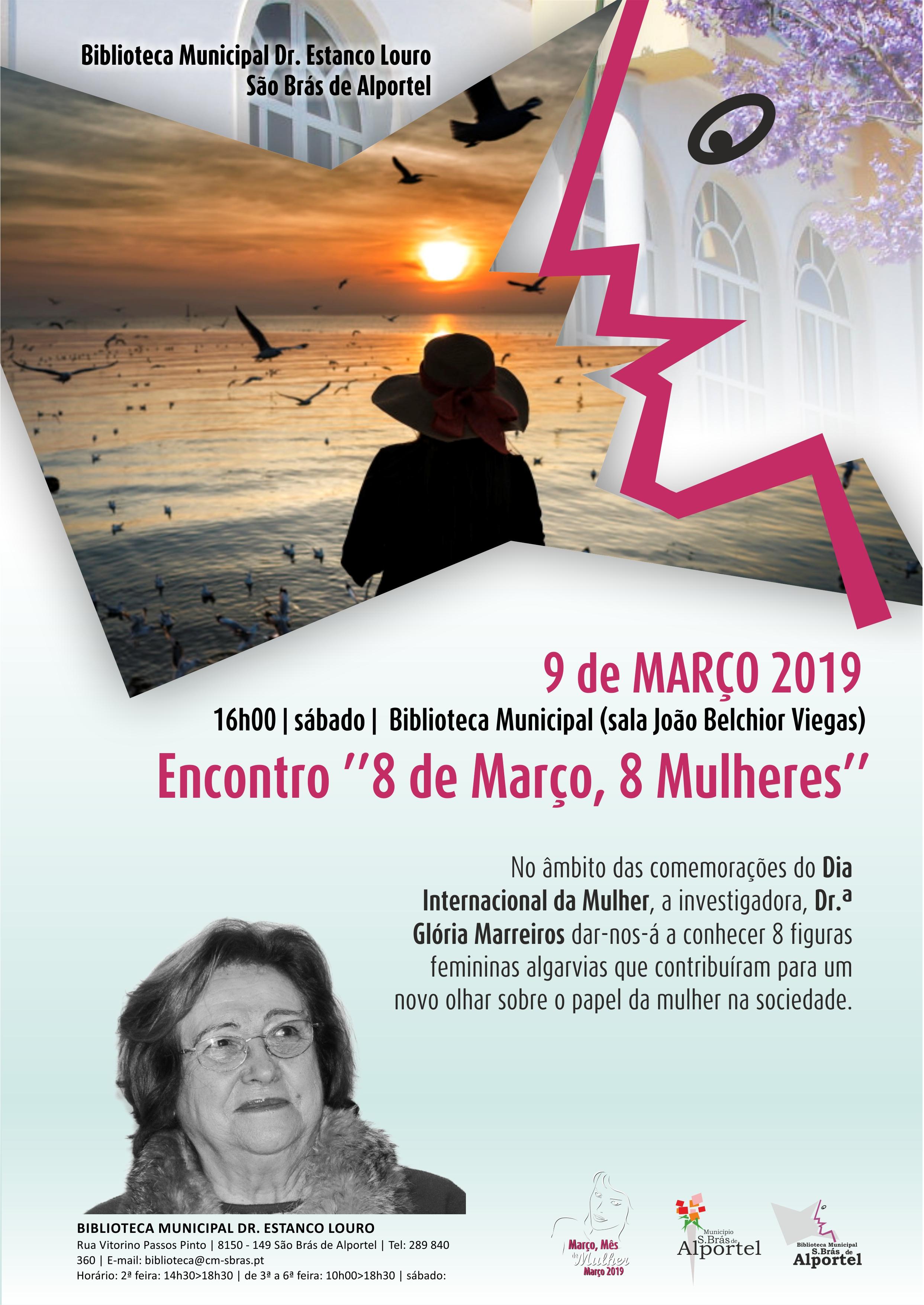 cartaz do encontro 8 de março, 8 mulheres