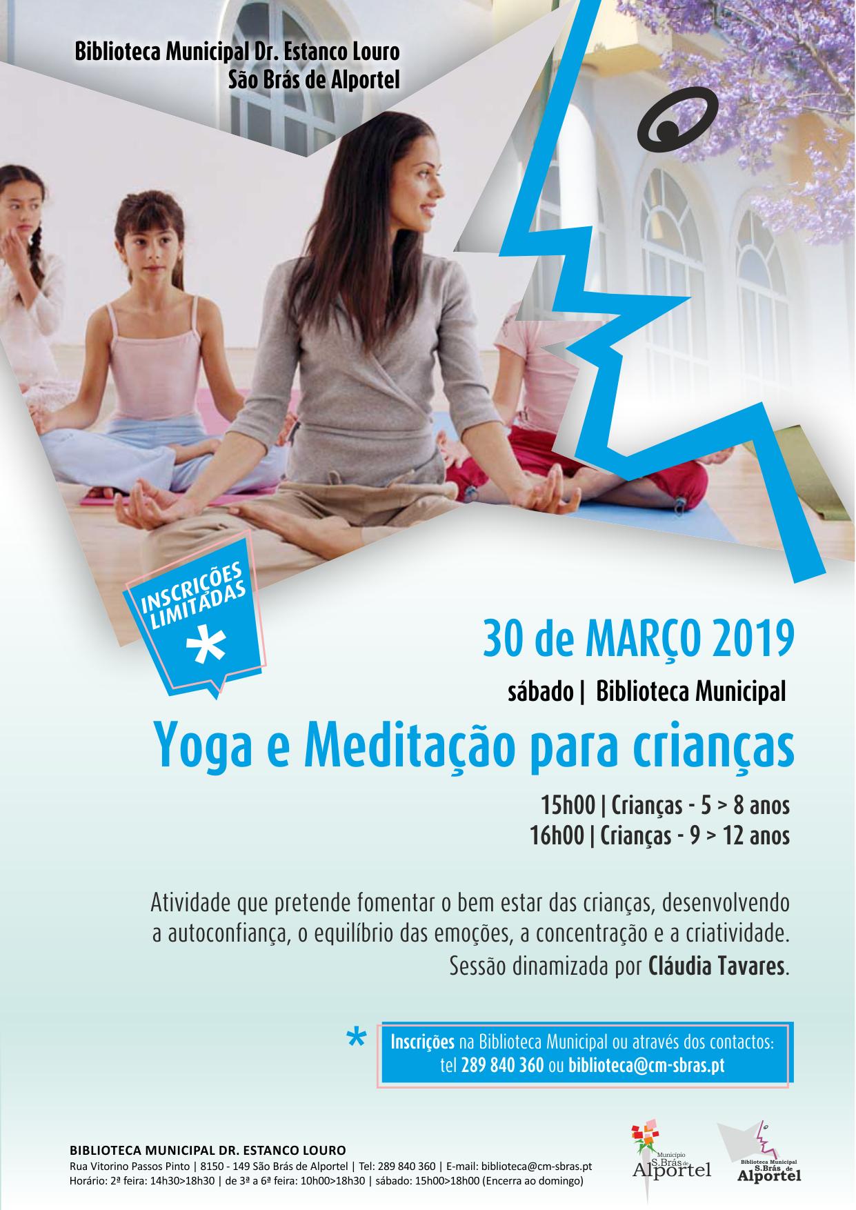 cartaz da sessão de yoga para crianças