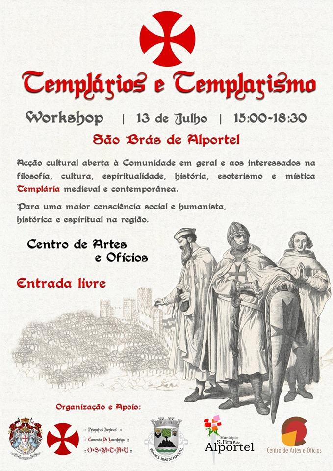 cartaz do curso e oficina sobre templarios e templarismo