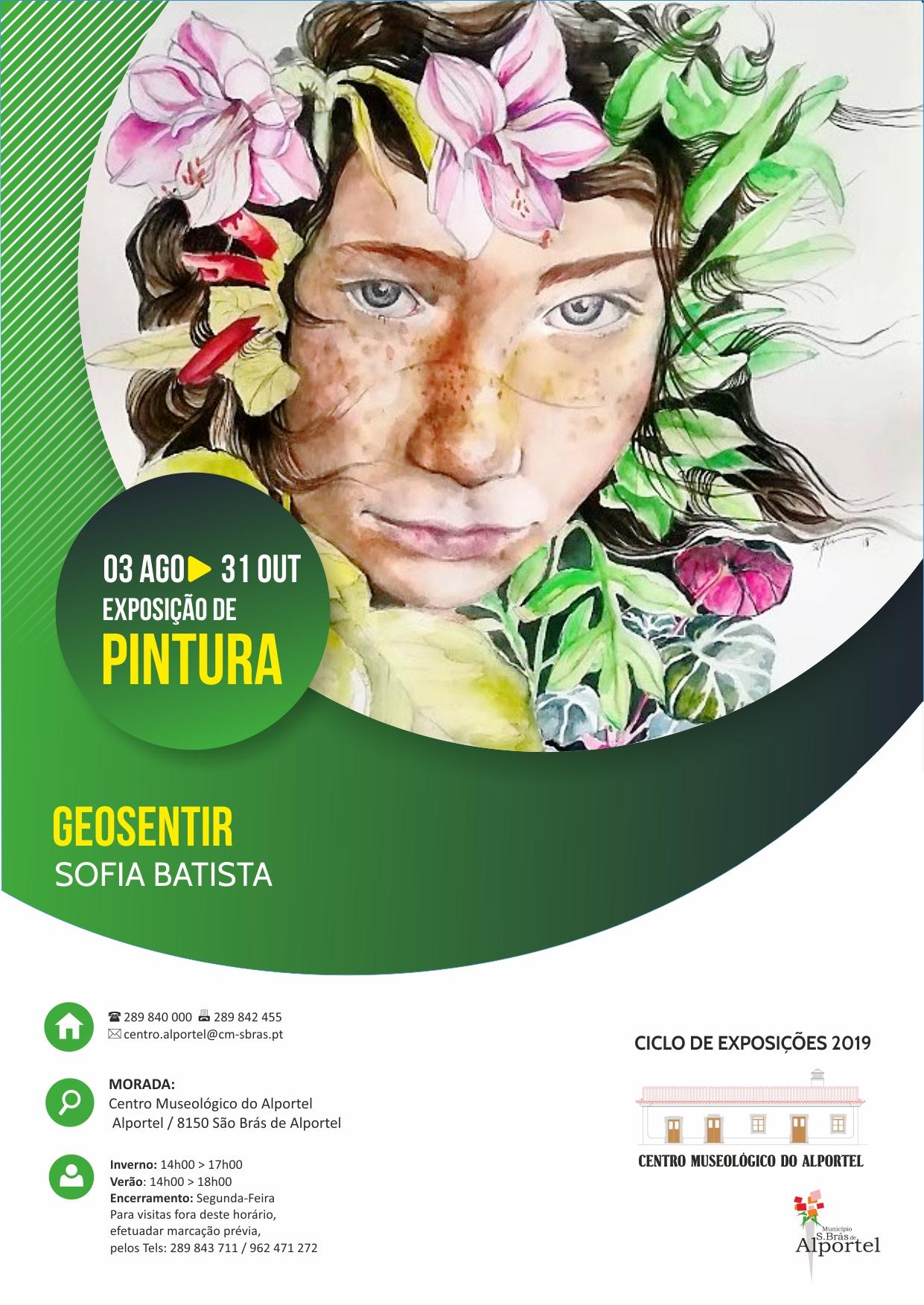 cartaz da exposição geosentir - pintura de sofia batista