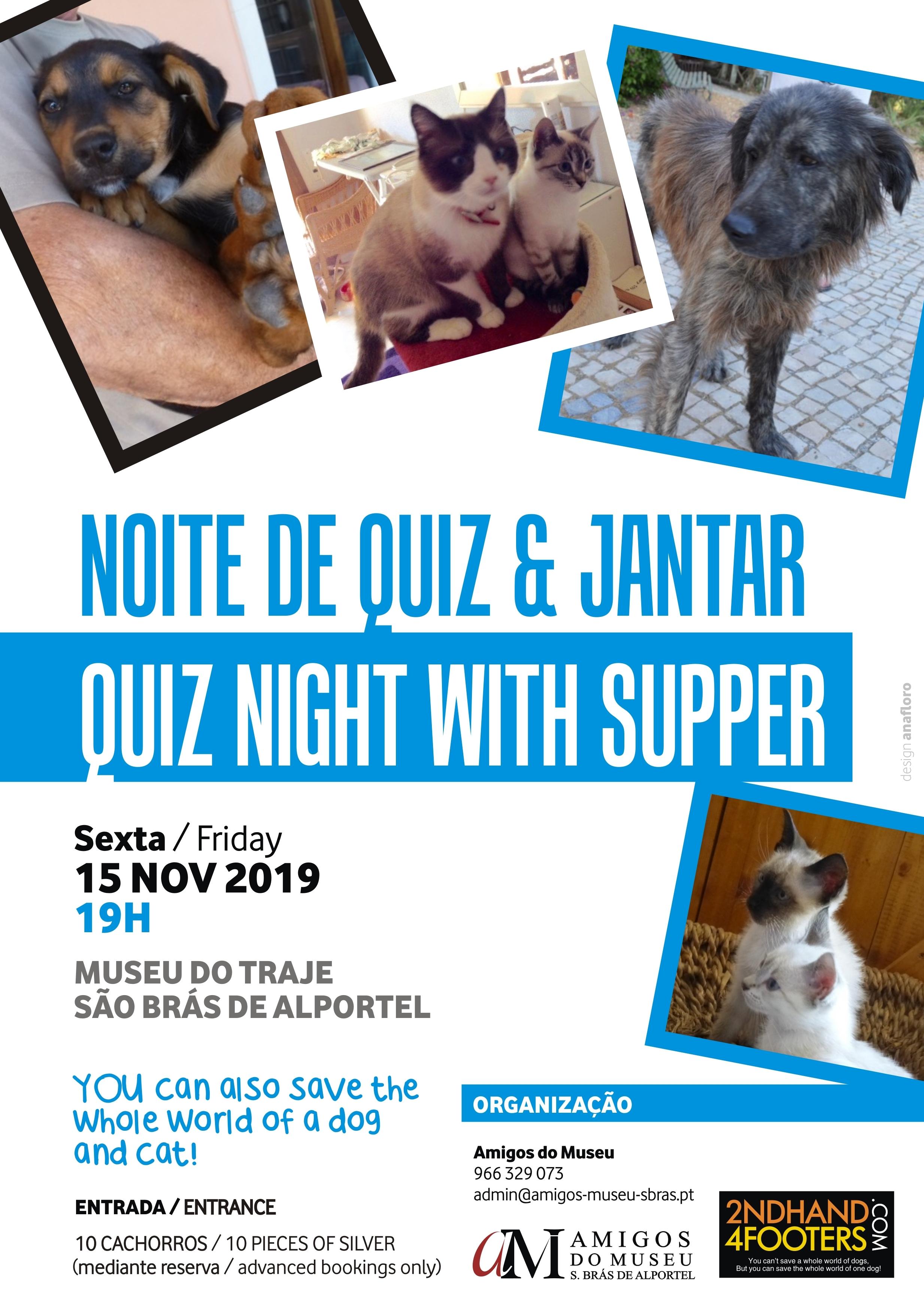 cartaz do quiz e jantar solidário para os animais