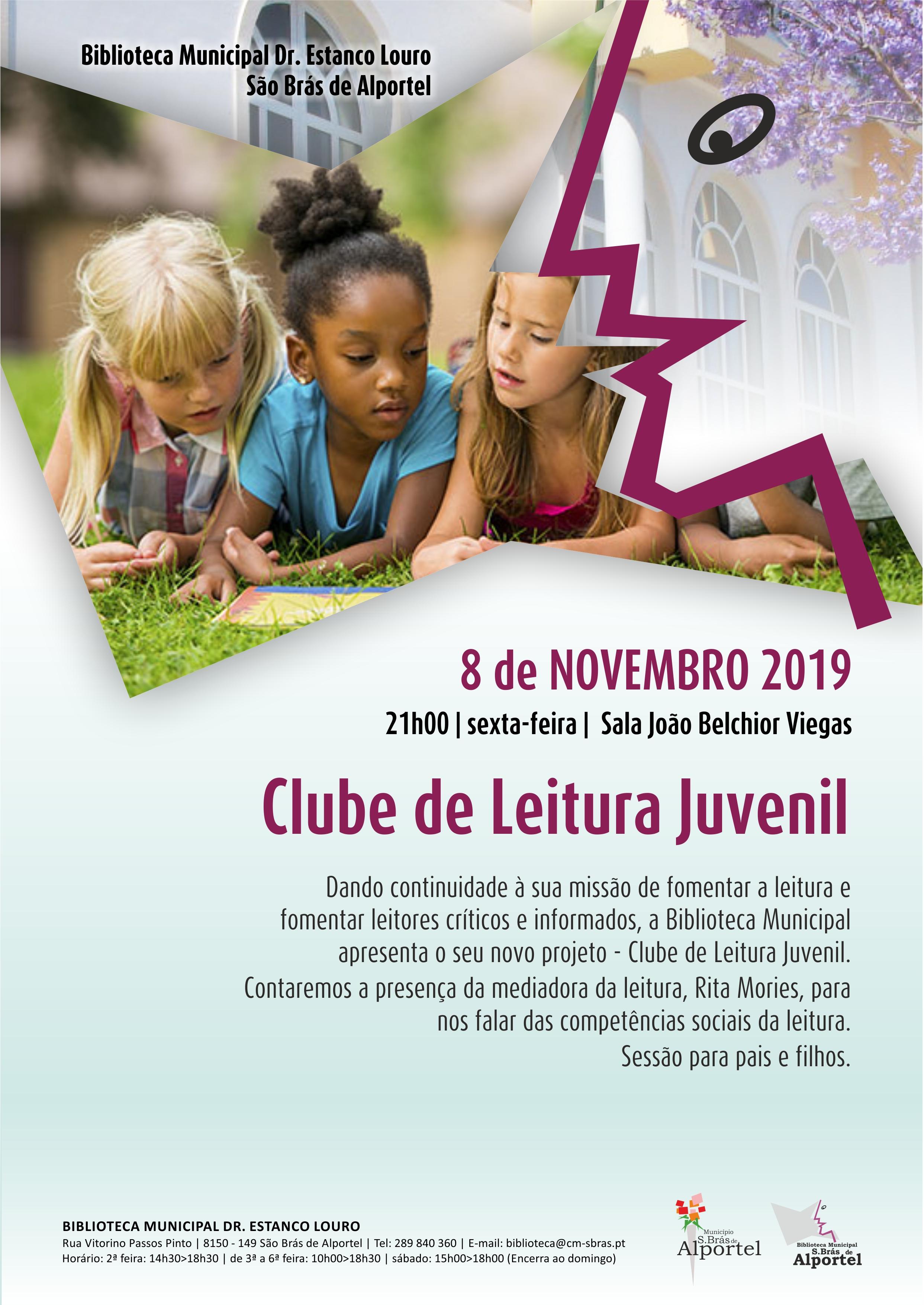 cartaz do clube de leitura juvenil de novembro de 2019