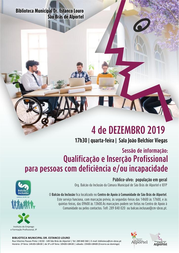 cartaz da sessão sobre qualificação e inserção profissional para pessoas com deficiencia
