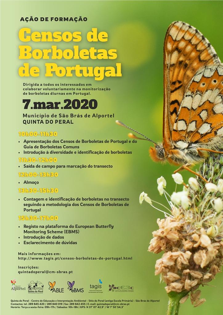 cartaz sobre os censos de borboletas em Portugal